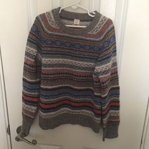Boys Crewcuts Wool Sweater Striped Grandpa Knit